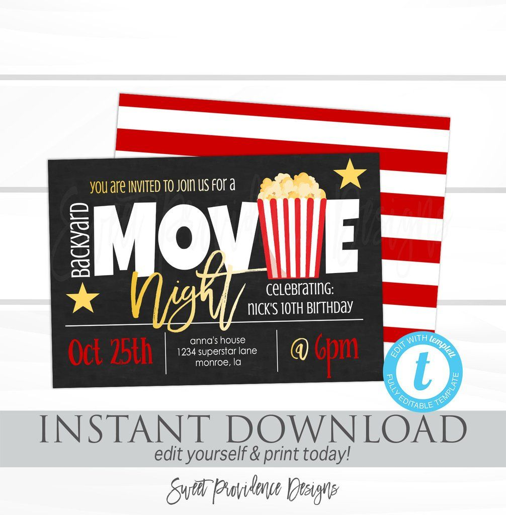 Movie Night Invitation, Birthday Movie party, Virtual