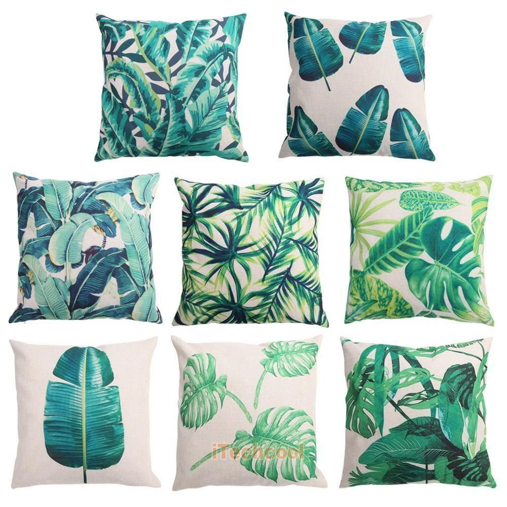 pillow beach tropical banana cushion sofa pattern leaf home decor rainforest pillows palm cover pin