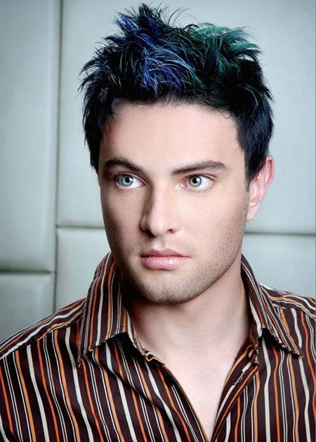 Dark Blue Green Highlights Hair Color Men Hair Color Mens Hair