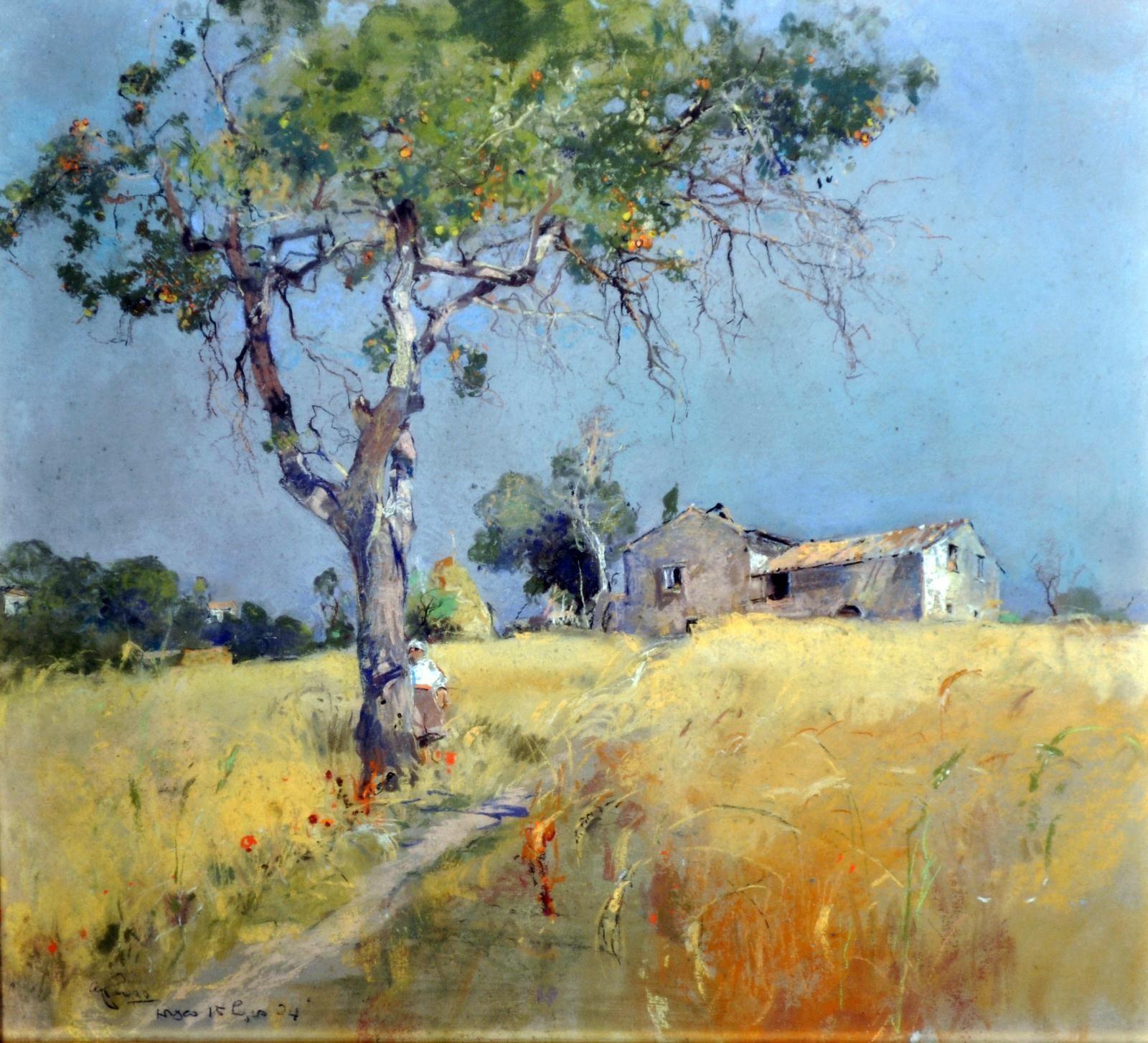 Casciaro Giuseppe Ortelle LE 1863  Napoli 1941 Paesaggio _pastelli su carta  Pastel painting