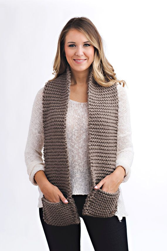 Knitting Pattern - Knit Pocket Scarf // Be Courageous | Knit ...