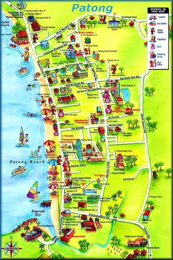 Karta Thailand Patong.Phuket Maps Phuket Karten Patong Beach Www Itraveleh Com Maps
