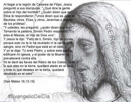 """#EvangelioDelDia ... """"¿Qué dice la gente sobre el Hijo del hombre?"""""""