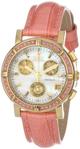 ea1a9231fac Invicta Womens 10317 Wildflower Chronograph White MotherOfPearl Dial  Crystal Accented Pink Leather Watch   Find out