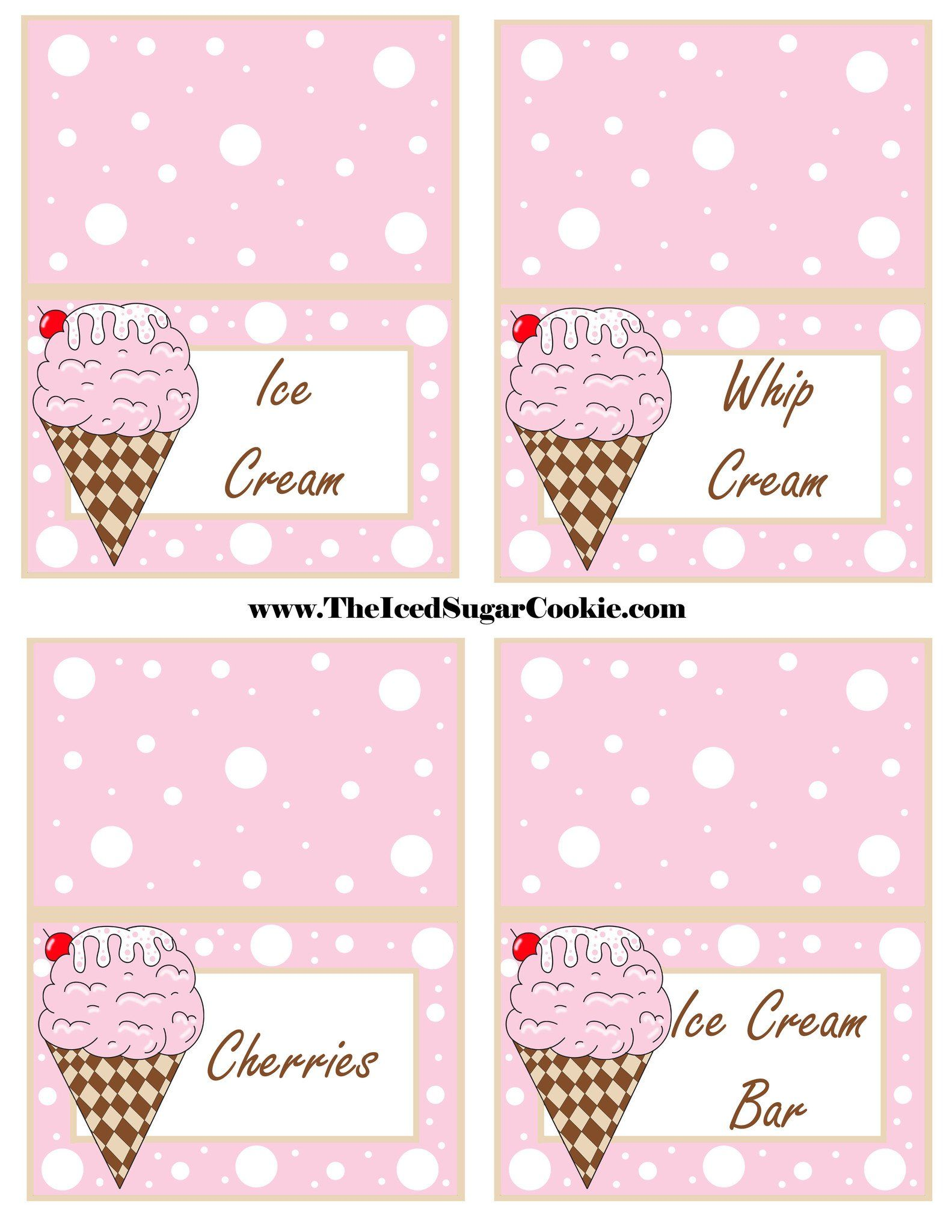 ice cream birthday party free printable template pattern cutout banner flag bunting garland