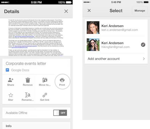 Google Drive for iOS now supports multiple accounts, AirPrint and