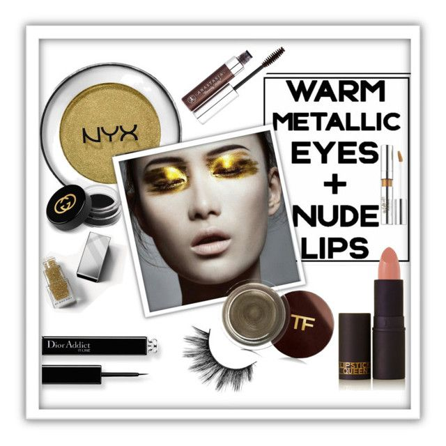 """""""Warm Metallic Eyes"""" by queenofsienna ❤ liked on Polyvore featuring beauty, NYX, Tom Ford, Lipstick Queen, Anastasia Beverly Hills, Burberry, Estée Lauder and Gucci"""
