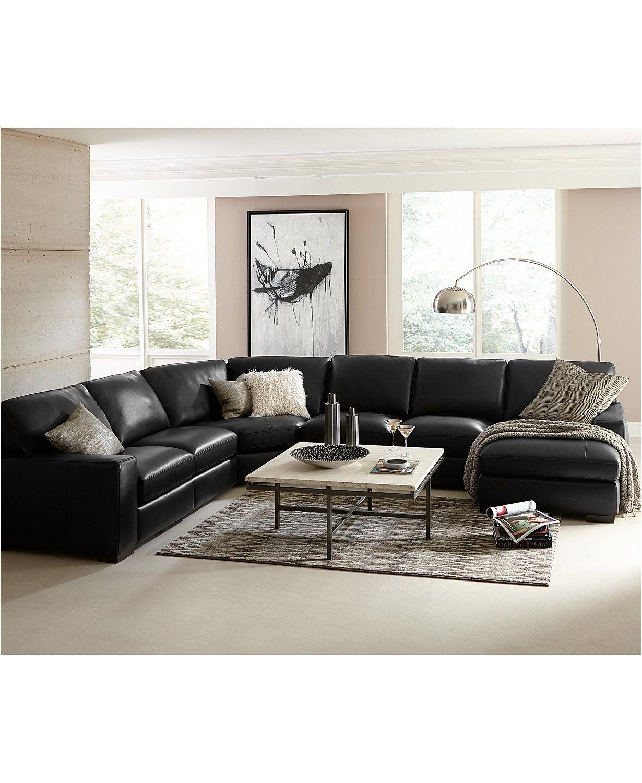 Fabrizio Leather Sectional Sofa Living Room Furniture Collection Macys Com Black Sofa Living Room Living Room Leather Black Leather Sofa Living Room