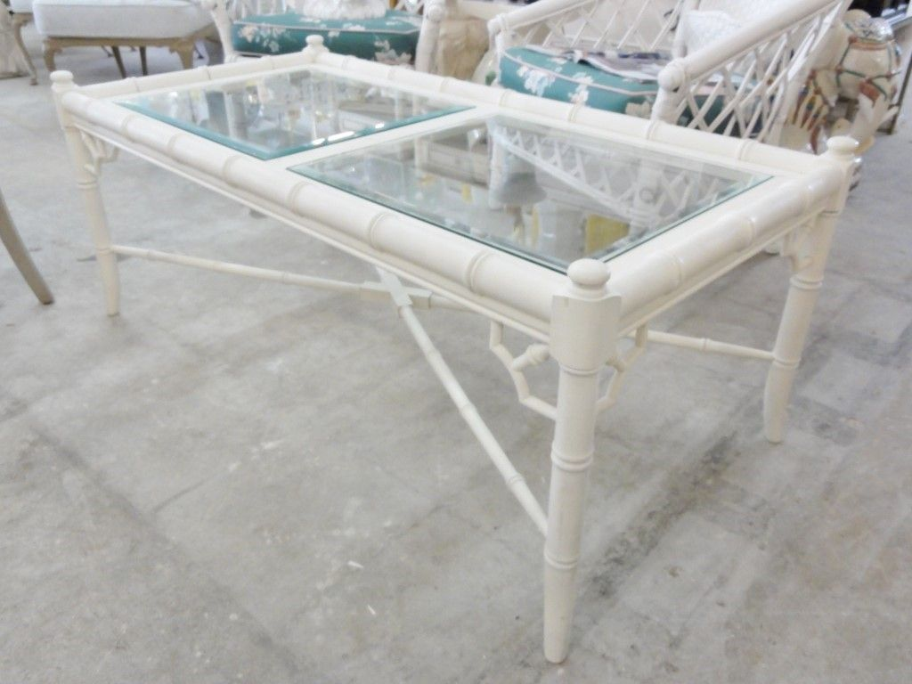 Vintage Faux Bamboo Coffee Table Palm Beach Regency