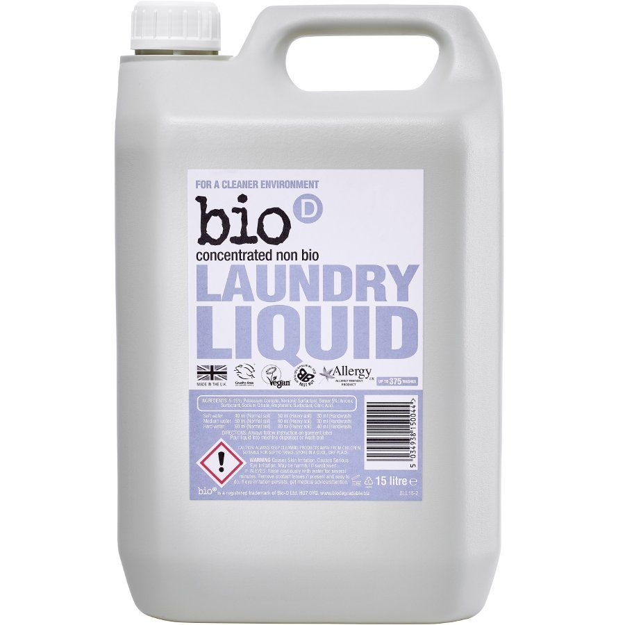 Bio D Concentrated Non Bio Laundry Liquid 5l 125 Washes Bio D Laundry Liquid Safe Cleaning Products Hypoallergenic Cleaning