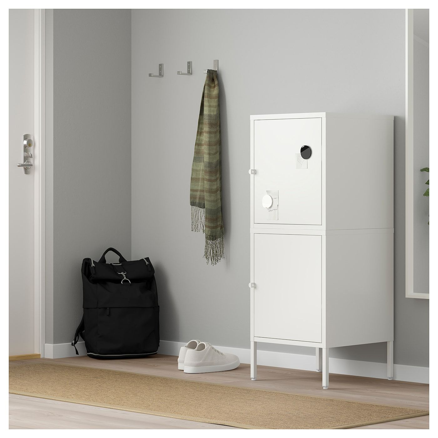HÄLLAN Storage combination with doors white 17 3/4x18 1
