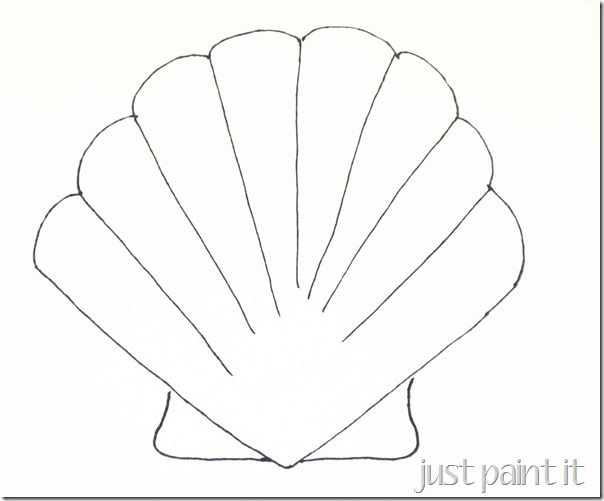 Seashell And Starfish Pattern Printables Just Paint It Blog Seashells Template Seashells Patterns Sea Shells