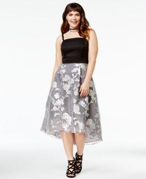 11fd6280b5c City Chic Trendy Plus Size Metallic Overlay Dress - Black 14W