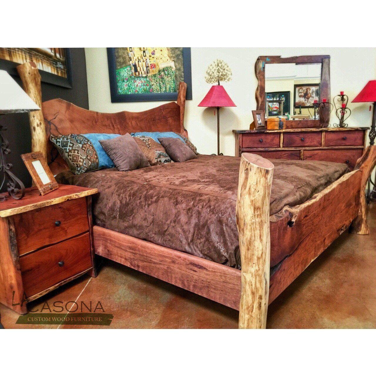 Live edge wood slab bed products pinterest farmhouse decor
