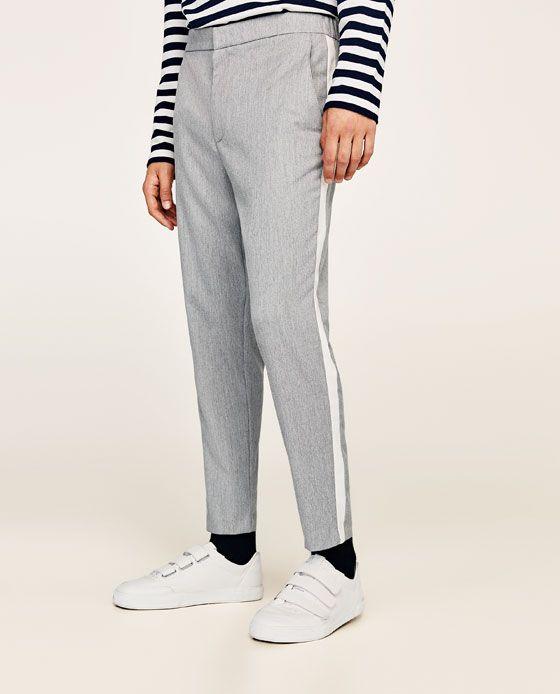pantalon zara homme bande blanche