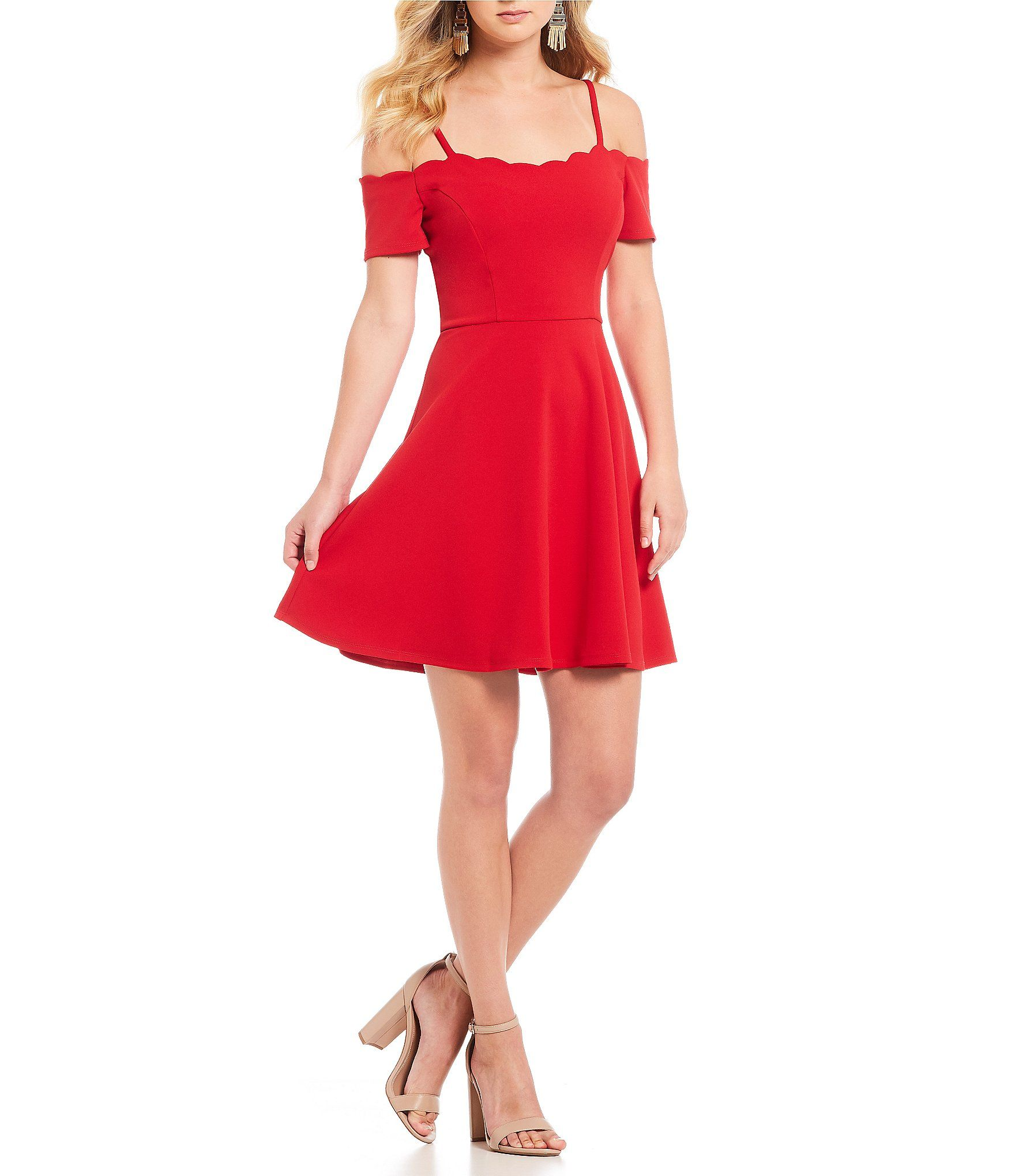 893e4a4d7ca In san francisco scalloped offtheshoulder fit and flare dress dillards also  off the shoulder rh pinterest