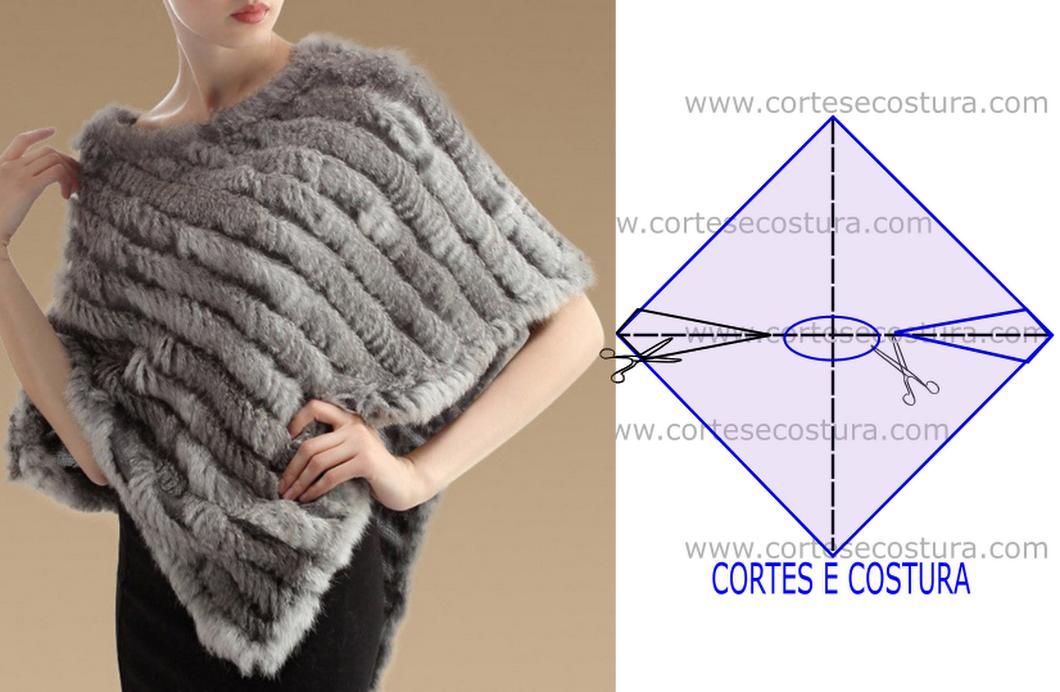 Moderno Carenado Patrón Poncho Crochet Molde - Manta de Tejer Patrón ...
