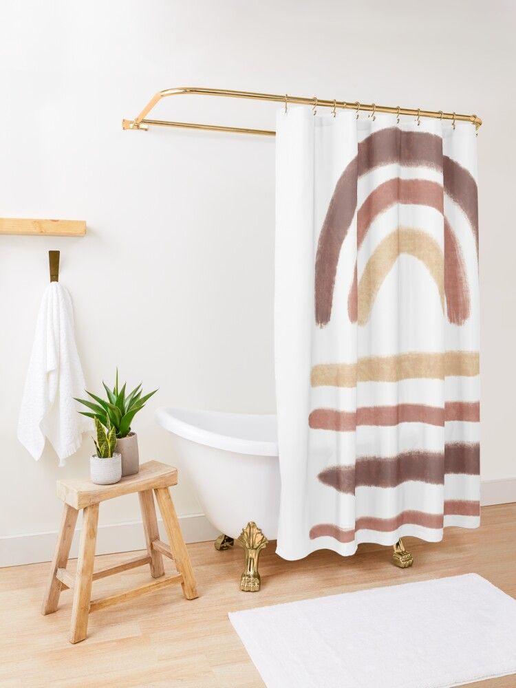 Neutral Boho Rainbow Shower Curtain By Miss Belle In 2020