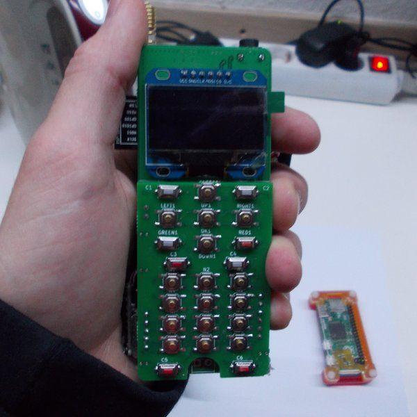Mobile phone built from: Pi Zero, SIM800 module, ESP8266-12E