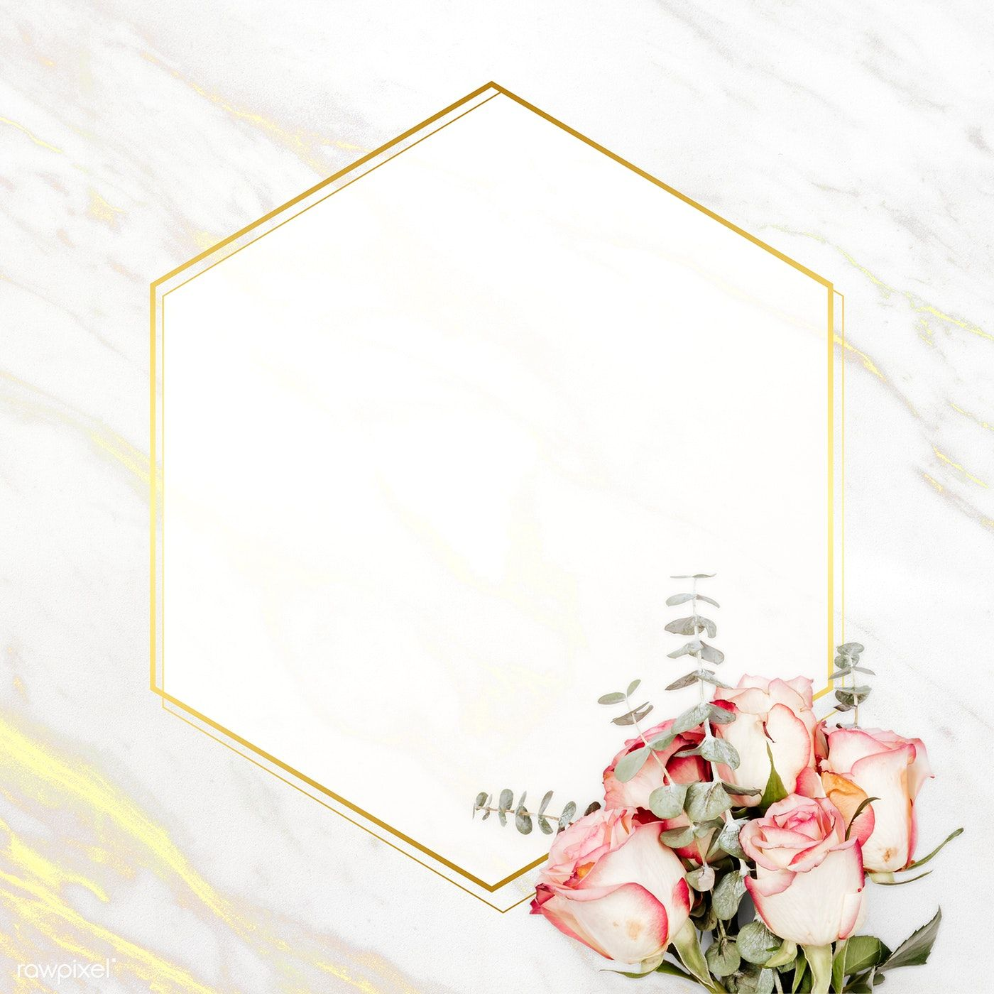 Download Premium Psd Of Floral Golden Marble Hexagon Frame 1212829 Vector Background Pattern Marble Frame Flower Frame
