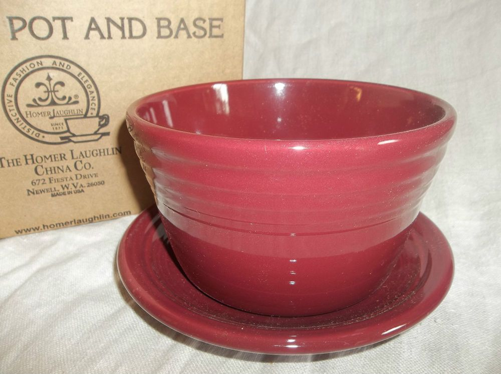 Fiesta Flower Pot With Saucer In Retired Color Cinnabar Homer Laughlin China Discontinued Ebay