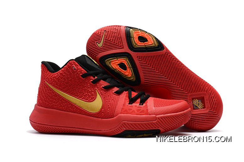 Real Cheap Nike Kyrie 3 Red Gold Medal New Year Deals