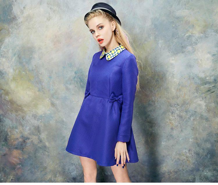 ELF SACK Print-Collar Bow-Accent Dress   YESSTYLE