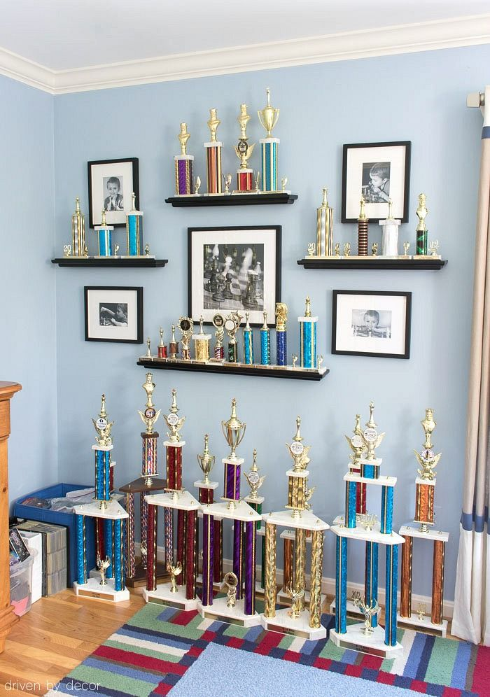 LOVE This Idea For Displaying Kids Trophies And Awards On The Wall