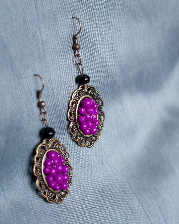 Handmade Polymer Clay Bright Purple Beaded Earrings by JenniferAnnFineArt, $23.00