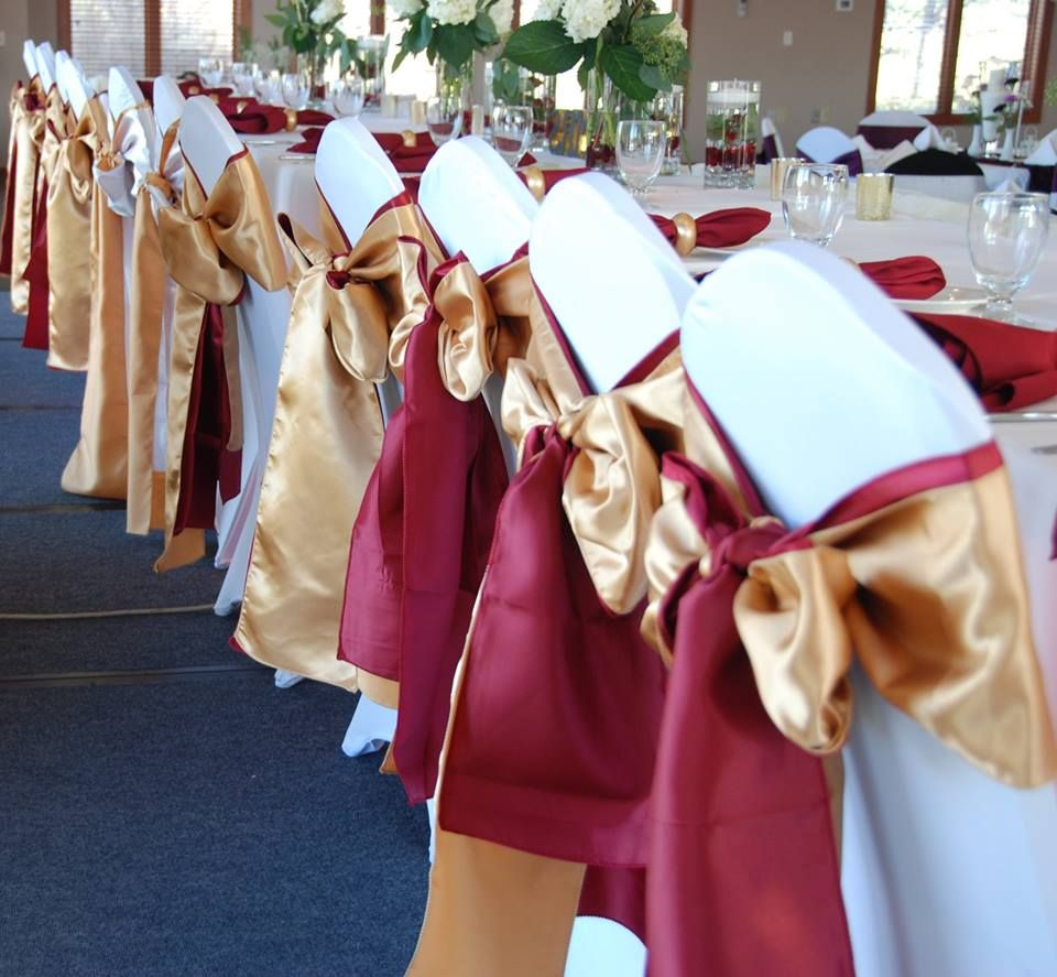 red and gold chair sash for wedding, elegant wedding