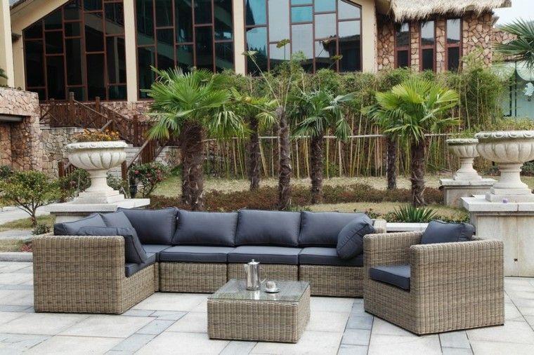 conjunto muebles ratan cojines azules | Jardín | Pinterest