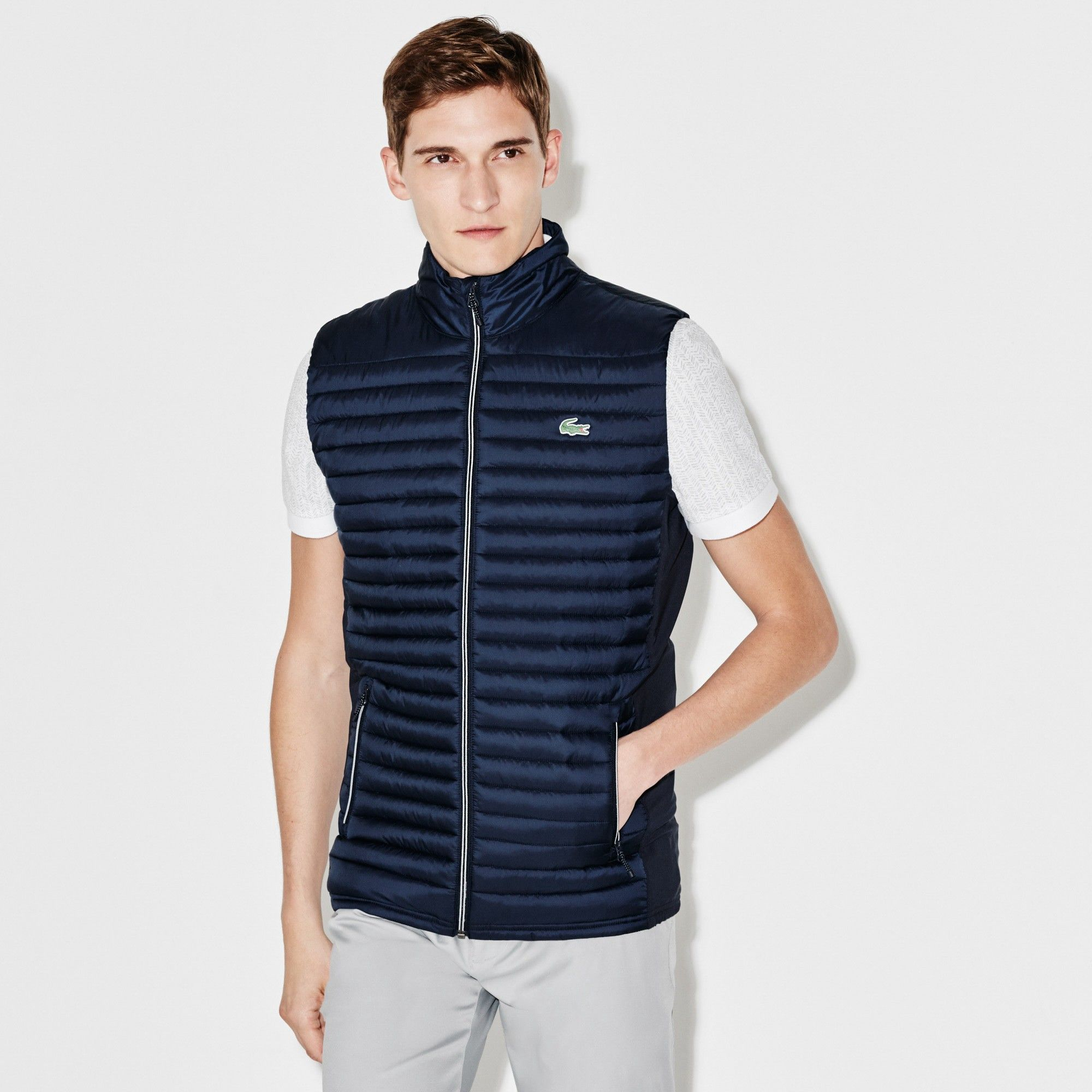 91b76e18f15a LACOSTE Men s SPORT Golf Water-resistant Quilted Vest - navy blue navy  blue.  lacoste  cloth
