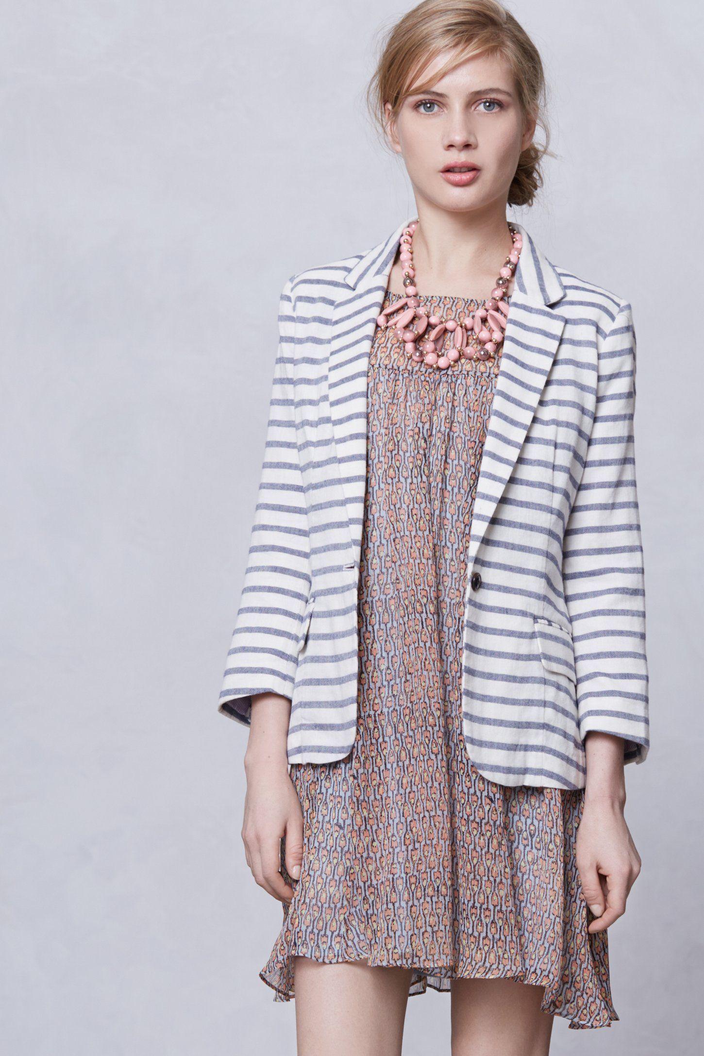 Striped cotton blazer anthro wear pinterest cotton blazer