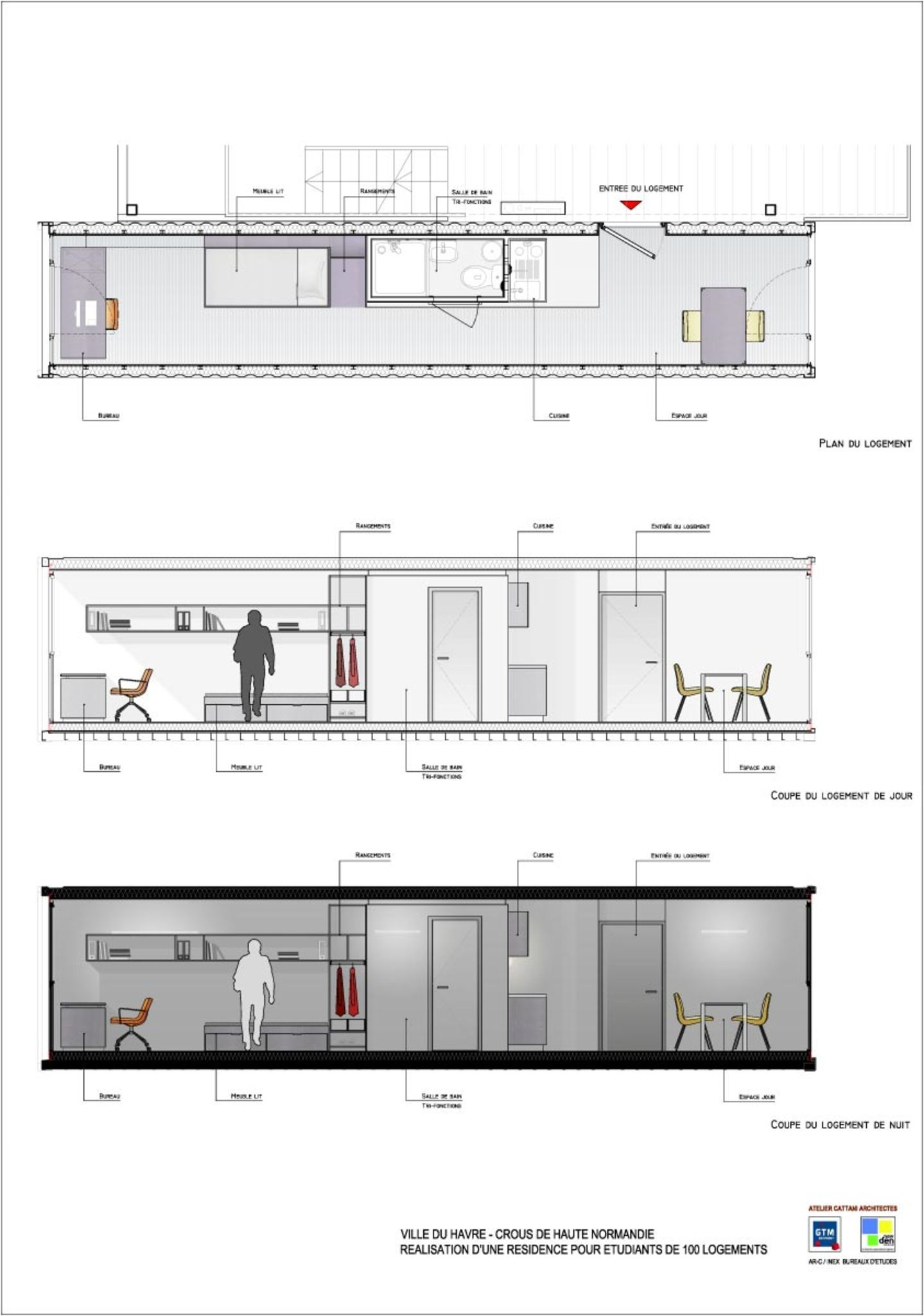 shipping container office plans. Completed Cité A Docks Student Housing Project, Located In Le Havre, France. The Consists Of 100 Apartments Made Out Old Shipping Containers. Container Office Plans