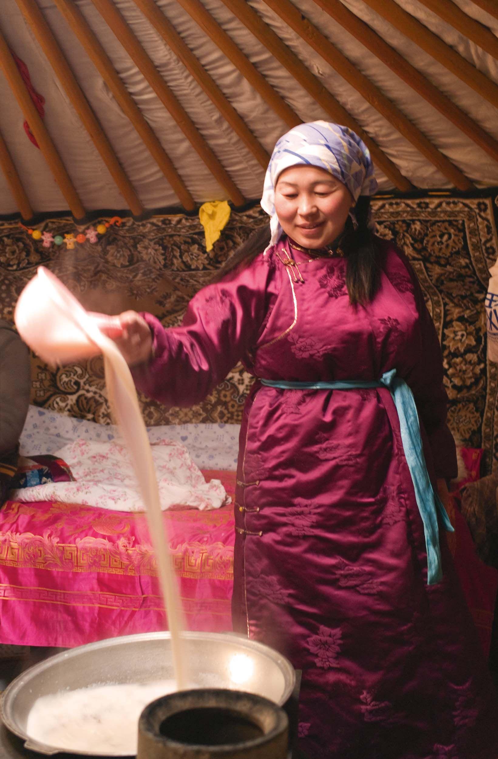 milky tea. nomads of mongolia