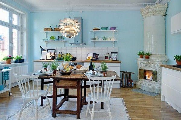 Skandinavische Küchenmöbel ~ Skandinavischer stil blaue küche papierlampe küche
