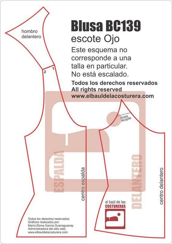 Blusa BC139 escote Ojo Patrón de Costura | Luly.manualidades ...