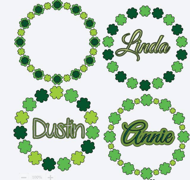 St Patricks Day Vinyl Decal Monogram Shamrock Sticker Name Circle
