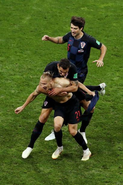 Domagoj Vida of Croatia celebrates with team mates Dejan Lovren and Vedran Corluka after scoring his team's second goal during the 2018 FIFA World... #soccerplayers