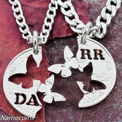 Name Jewelry Hand Cut Quarter Custom NameCoin Necklace with Butterfly