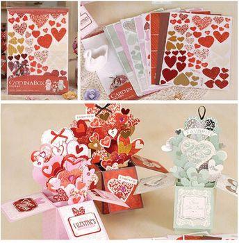 Sweet Valentine Love Pop Up Box Card Diy Handmade Card In A Box Tutorial For Wedding 3d Greeting Card Maki Handmade Cards Diy Pop Up Box Cards Card Making Kits