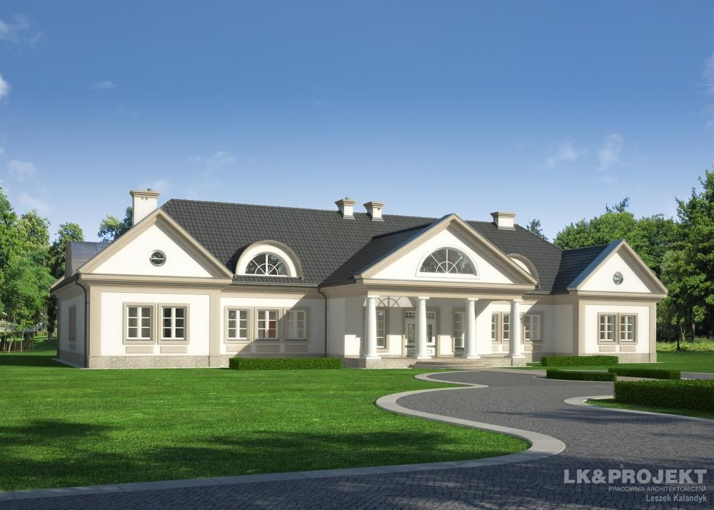 Projekt domu w stylu dworkowym lk 1205 architektura for Aggiunte garage per case in stile ranch