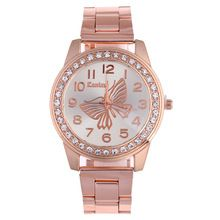 ab86a28dfa9 De lujo de Oro Rosa Reloj de Las Mujeres Vestido Rhinestone Reloj de Cuarzo  de Moda Damas de Acero Inoxidable Relojes de Pulsera Reloj Relógio ...