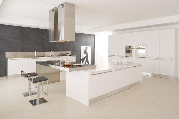 Table Incorporée Alu Brossé Modèle Cuisine Design Italien - Cuisiniste paris 15