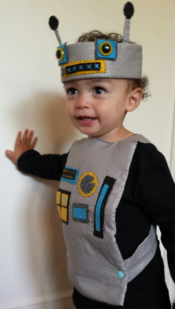 Cute handmade retro robot costume for toddler by for Diy halloween costumes for kid boy