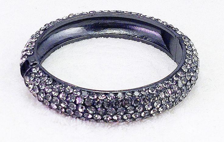 Smokey Grey Pave Crystal Hinged Bangle Bracelet from Jim Ball