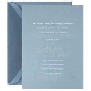 Hand Engraved Embassy Dalton Blue Invitation Set