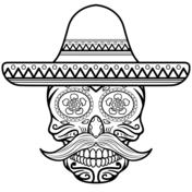 Sugar Skull in Sombrero Coloring page | Día de los Muertos ...