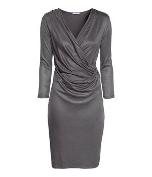 Kneelength Long Sleeves VNeck Solid Dress