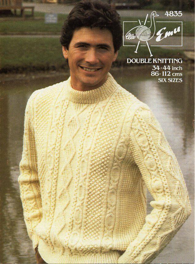 Knitting Pattern Mens Crew Neck Jumper : mens aran sweater knitting pattern pdf mens aran jumper crew neck 34-44